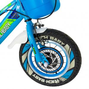 """Bicicleta baieti Rich Baby R1407A, roata 14"""", C-Brake, roti ajutatoare cu LED, 3-5 ani, albastru/verde4"""