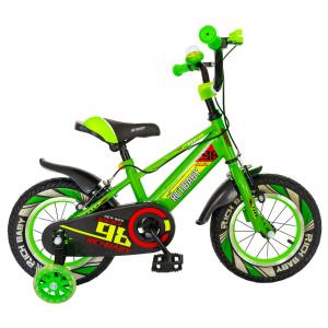 "Bicicleta baieti Rich Baby R1407A, roata 14"", C-Brake, roti ajutatoare cu LED, 3-5 ani, verde/alb 0"
