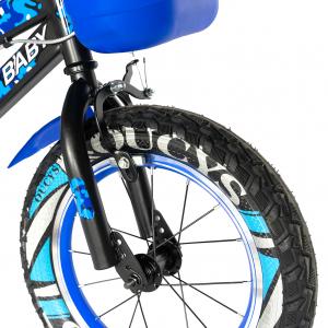 "Bicicleta baieti RICH BABY R14WTA, roata 14"", roti ajutatoare cu LED, 3-5 ani, culoare negru/albastru6"