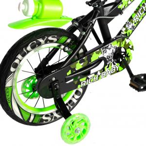 "Bicicleta baieti  RICH BABY R14WTA, roata 14"", roti ajutatoare cu LED, 3-5 ani, culoare negru/verde3"
