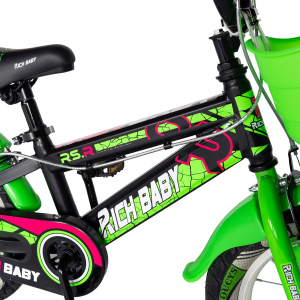 "Bicicleta baieti RICH BABY R14WTB, roata 14"", roti ajutatoare, 3-5 ani, culoare negru/verde3"