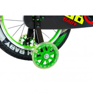 """Bicicleta baieti Rich Baby R1807A, roata 18"""", C-Brake otel, roti ajutatoare cu LED, 5-7 ani, verde/negru6"""