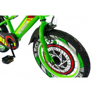 """Bicicleta baieti Rich Baby R1807A, roata 18"""", C-Brake otel, roti ajutatoare cu LED, 5-7 ani, verde/negru1"""