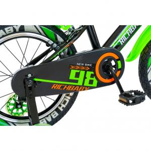 """Bicicleta baieti Rich Baby R1807A, roata 18"""", C-Brake otel, roti ajutatoare cu LED, 5-7 ani, negru/verde1"""