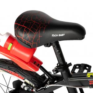 "Bicicleta baieti RICH BABY R16WTB, roata 16"", roti ajutatoare, 4-6 ani, culoare negru/rosu1"