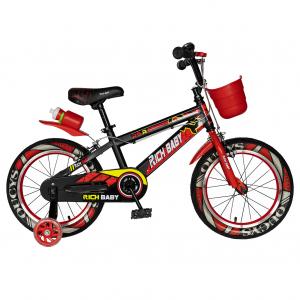 "Bicicleta baieti RICH BABY R16WTB, roata 16"", roti ajutatoare, 4-6 ani, culoare negru/rosu0"