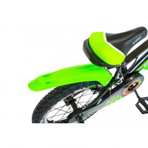 """Bicicleta baieti Rich Baby R1807A, roata 18"""", C-Brake otel, roti ajutatoare cu LED, 5-7 ani, negru/verde4"""