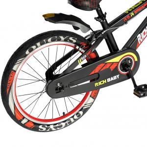 """Bicicleta baieti RICH BABY R20WTB, roata 20"""", 7-10 ani, culoare negru/rosu2"""