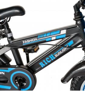 "Bicicleta baieti Rich Baby T1202C, roata 12"", C-Brake, roti ajutatoare, 2-4 ani, negru/albastru [5]"