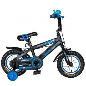 "Bicicleta baieti Rich Baby T1202C, roata 12"", C-Brake, roti ajutatoare, 2-4 ani, negru/albastru [0]"