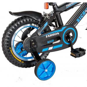 "Bicicleta baieti Rich Baby T1202C, roata 12"", C-Brake, roti ajutatoare, 2-4 ani, negru/albastru [2]"