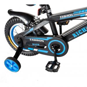 "Bicicleta baieti Rich Baby T1202C, roata 12"", C-Brake, roti ajutatoare, 2-4 ani, negru/albastru [3]"