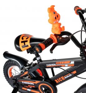 "Bicicleta baieti Rich Baby T1202C, roata 12"", C-Brake, roti ajutatoare, 2-4 ani, negru/portocaliu [11]"