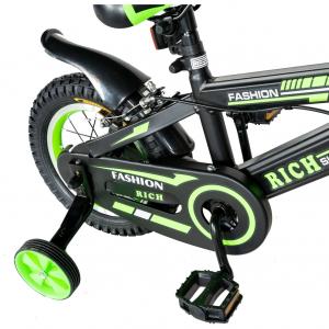 "Bicicleta baieti Rich Baby T1202C, roata 12"", C-Brake, roti ajutatoare, 2-4 ani, negru/verde [1]"