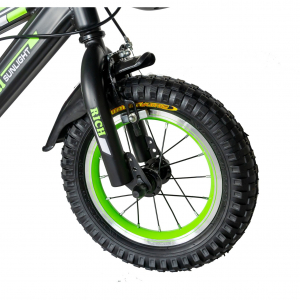 "Bicicleta baieti Rich Baby T1202C, roata 12"", C-Brake, roti ajutatoare, 2-4 ani, negru/verde [7]"