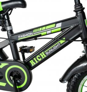 "Bicicleta baieti Rich Baby T1202C, roata 12"", C-Brake, roti ajutatoare, 2-4 ani, negru/verde [5]"