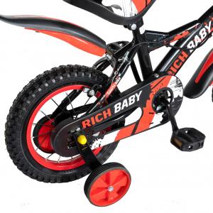 "Bicicleta baieti Rich Baby T1204C, roata 12"", C-Brake,  roti ajutatoare, 2-4 ani, negru/rosu3"