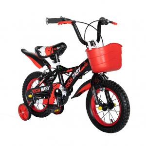 "Bicicleta baieti Rich Baby T1204C, roata 12"", C-Brake,  roti ajutatoare, 2-4 ani, negru/rosu1"