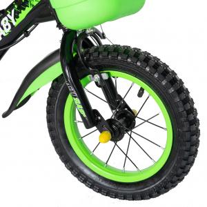 "Bicicleta baieti Rich Baby T1204C, roata 12"", C-Brake,  roti ajutatoare, 2-4 ani, negru/verde5"