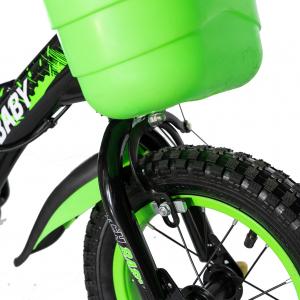 "Bicicleta baieti Rich Baby T1204C, roata 12"", C-Brake,  roti ajutatoare, 2-4 ani, negru/verde4"