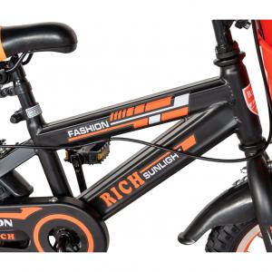 "Bicicleta baieti Rich Baby T1602C, roata 16"", C-Brake, roti ajutatoare, 4-6 ani, negru/portocaliu [5]"