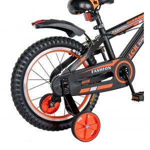 "Bicicleta baieti Rich Baby T1602C, roata 16"", C-Brake, roti ajutatoare, 4-6 ani, negru/portocaliu [2]"