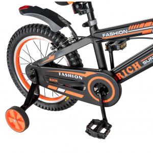 "Bicicleta baieti Rich Baby T1602C, roata 16"", C-Brake, roti ajutatoare, 4-6 ani, negru/portocaliu [3]"