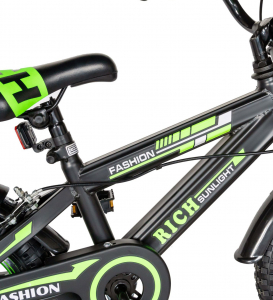 "Bicicleta baieti Rich Baby T1602C, roata 16"", C-Brake, roti ajutatoare, 4-6 ani, negru/verde [5]"