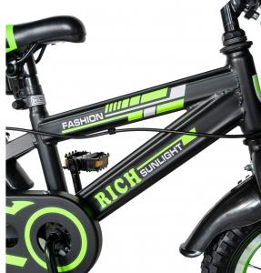 "Bicicleta baieti Rich Baby T1602C, roata 16"", C-Brake, roti ajutatoare, 4-6 ani, negru/verde [6]"