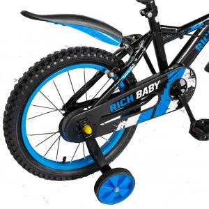 "Bicicleta baieti Rich Baby T1604C, roata 16"", C-Brake,  roti ajutatoare, 4-6 ani, negru/albastru [3]"