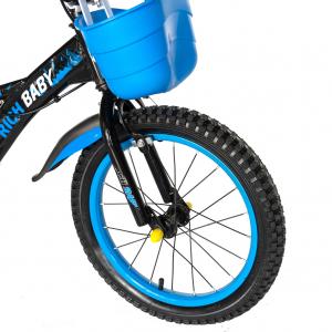 "Bicicleta baieti Rich Baby T1604C, roata 16"", C-Brake,  roti ajutatoare, 4-6 ani, negru/albastru [4]"