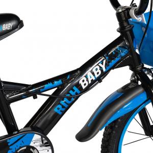 "Bicicleta baieti Rich Baby T1604C, roata 16"", C-Brake,  roti ajutatoare, 4-6 ani, negru/albastru [5]"