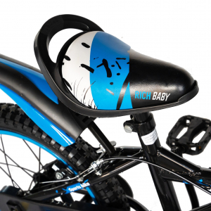 "Bicicleta baieti Rich Baby T1604C, roata 16"", C-Brake,  roti ajutatoare, 4-6 ani, negru/albastru [1]"