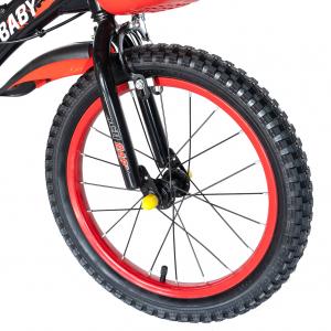 "Bicicleta baieti Rich Baby T1604C, roata 16"", C-Brake,  roti ajutatoare, 4-6 ani, negru/rosu [5]"