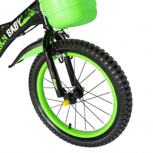 "Bicicleta baieti Rich Baby T1604C, roata 16"", C-Brake,  roti ajutatoare, 4-6 ani, negru/verde [4]"