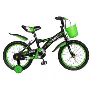 "Bicicleta baieti Rich Baby T1604C, roata 16"", C-Brake,  roti ajutatoare, 4-6 ani, negru/verde [0]"