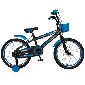 Bicicleta Baieti 7-10 Ani, Roti 20 Inch, Frane C-Brake, Roti Ajutatoare, Rich Baby CST20/02C, Cadru Negru cu Design Albastru [0]