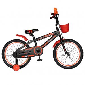 Bicicleta Baieti 7-10 Ani, Roti 20 Inch, Frane C-Brake, Roti Ajutatoare, Rich Baby CST20/02C, Cadru Negru cu Design Portocaliu [0]