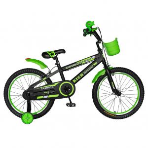 Bicicleta Baieti 7-10 Ani, Roti 20 Inch, Frane C-Brake, Roti Ajutatoare, Rich Baby CST20/02C, Cadru Negru cu Design Verde [0]