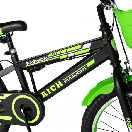 Bicicleta Baieti 7-10 Ani, Roti 20 Inch, Frane C-Brake, Roti Ajutatoare, Rich Baby CST20/02C, Cadru Negru cu Design Verde [3]