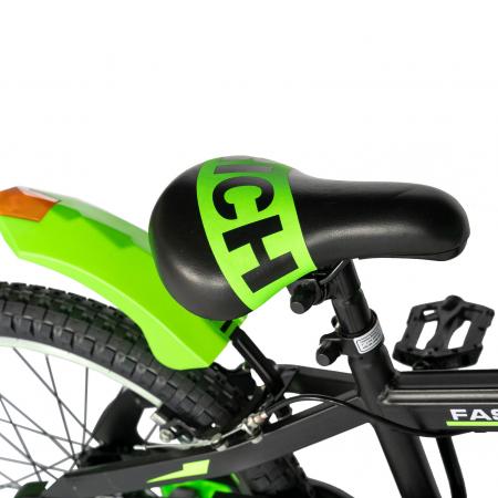 Bicicleta Baieti 7-10 Ani, Roti 20 Inch, Frane C-Brake, Roti Ajutatoare, Rich Baby CST20/02C, Cadru Negru cu Design Verde [2]