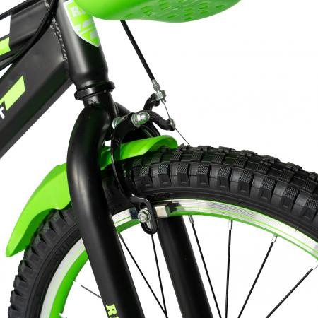 Bicicleta Baieti 7-10 Ani, Roti 20 Inch, Frane C-Brake, Roti Ajutatoare, Rich Baby CST20/02C, Cadru Negru cu Design Verde [4]
