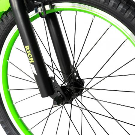Bicicleta Baieti 7-10 Ani, Roti 20 Inch, Frane C-Brake, Roti Ajutatoare, Rich Baby CST20/02C, Cadru Negru cu Design Verde [6]