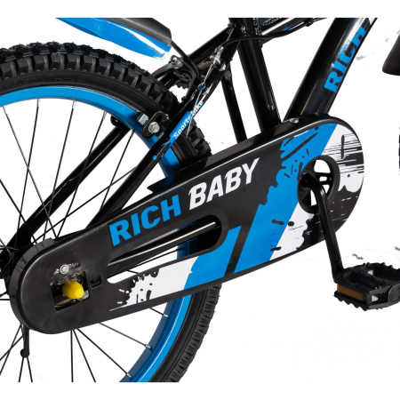 Bicicleta Baieti 7-10 Ani, Roti 20 Inch, Frane C-Brake, Rich Baby CST20/04C, Cadru Negru cu Design Albastru [3]