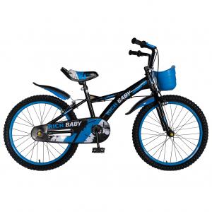 Bicicleta Baieti 7-10 Ani, Roti 20 Inch, Frane C-Brake, Rich Baby CST20/04C, Cadru Negru cu Design Albastru [0]