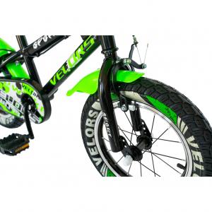 "Bicicleta baieti VELORS V1801A, roata 18"", C-Brake, roti ajutatoare, 5-7 ani, negru/verde [3]"