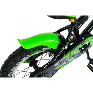 "Bicicleta baieti VELORS V1801A, roata 18"", C-Brake, roti ajutatoare, 5-7 ani, negru/verde [4]"