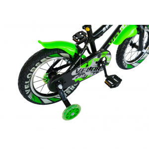 "Bicicleta baieti VELORS V1801A, roata 18"", C-Brake, roti ajutatoare, 5-7 ani, negru/verde [2]"