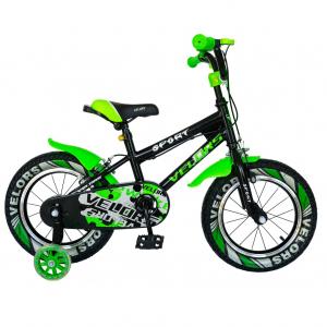 "Bicicleta baieti VELORS V1801A, roata 18"", C-Brake, roti ajutatoare, 5-7 ani, negru/verde [0]"