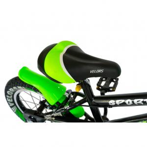 "Bicicleta baieti VELORS V1801A, roata 18"", C-Brake, roti ajutatoare, 5-7 ani, negru/verde [1]"